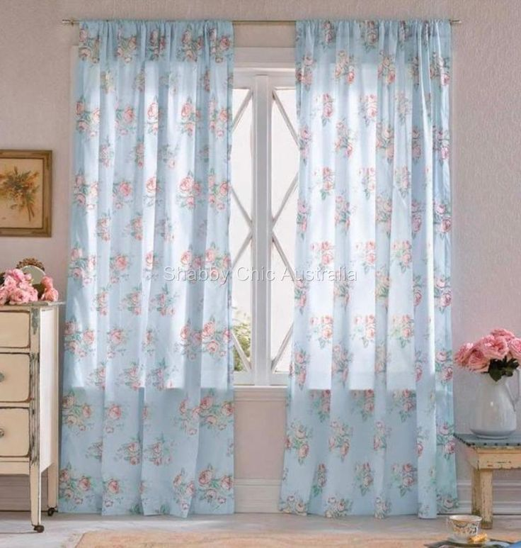 2 Simply Shabby Chic Voile Sheer Roses Blue Curtains Drape Panels More Avai
