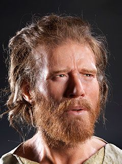 The Reconstructed head of a 5,500 year old man found a mile from Stonehenge in Wiltshire, UK. It is the most advanced reconstruction of a Neolithic man's face to date. 20-40 years of age, slender build, born about 5,500 years ago about 500 years before the circular ditch and banks at Stonehenge were built....