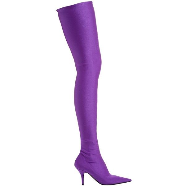 Balenciaga Women 80mm Knife Spandex Over The Knee Boots (€1.355) ❤ liked on Polyvore featuring shoes, boots, purple, high heel shoes, above-knee boots, over-the-knee high-heel boots, purple boots and balenciaga shoes