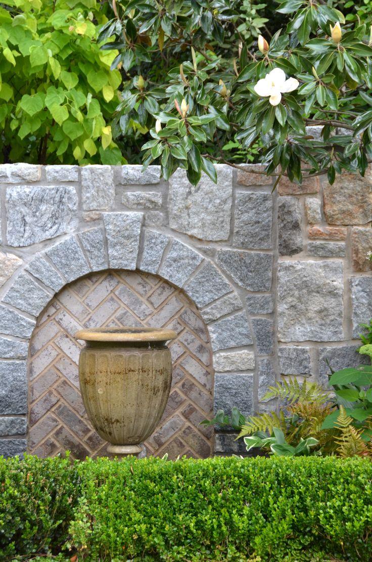 Limestone Fountain With A Granite Backdrop. A Planters Design. Atlanta, GA  · Landscape ArchitectureGraniteFountainAtlantaPlanters