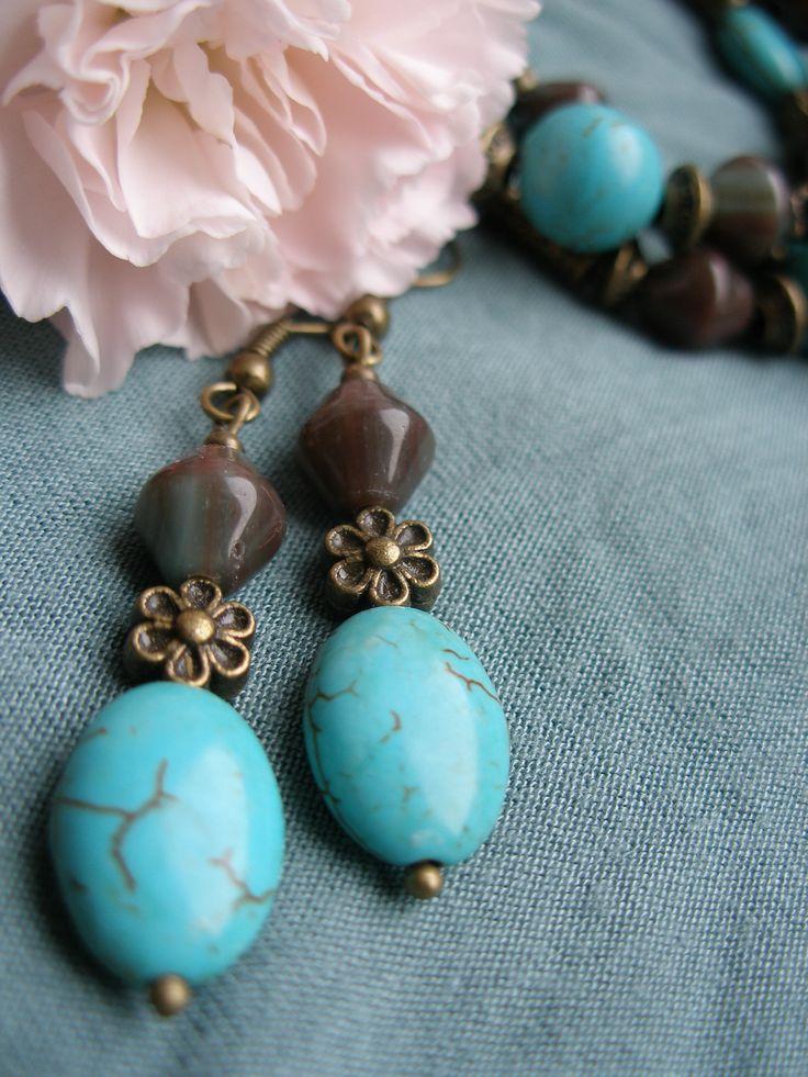 Old turquoise - DIY jewellery set bracelet & earrings