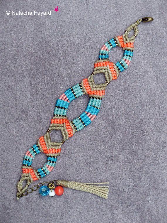 Micro macrame boho bohemian chic turquoise blue linen coral neon bracelet myuki tassel charms french jewelry designer made in France