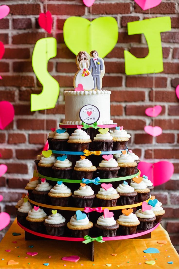 Funky urban wedding cupcake tower- GoodieBox Bakeshop