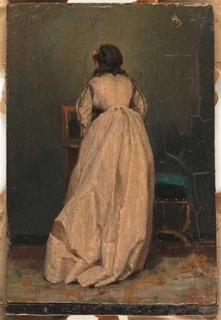 La femme en rose Alfred Stevens (1823-1906)LA OBRA  POSEE DETERIOROS  LOCALIZADOS EN EL LATERAL DERECHO DE BAJO DE LA FIRMA HASTA LA BASE...RAJAS Y DEBILIDAD ESTRUCTURAL