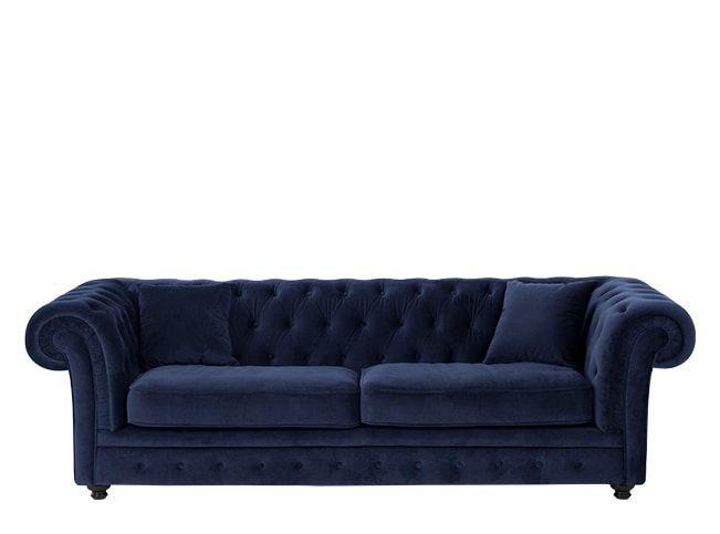 Branagh 3 Seater Chesterfield Sofa, Electric Blue Velvet
