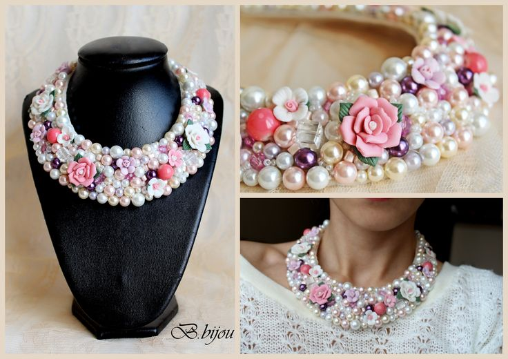 Statement necklace/beaded/collar necklace/ summer/roses