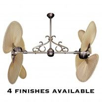 Twin Star II Double Ceiling Fan - Gulf Coast Dual Head w/ Real Palm Leaf Blades