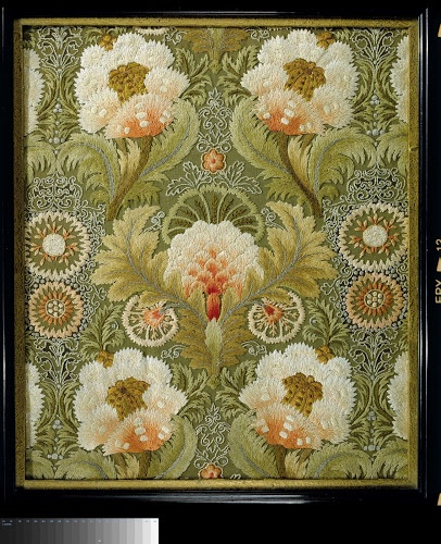 Embroidery of silk with a symmetrical ornament of flowers and leaves, Leek Embroidery Society, (Leek, Staffordshire, England) 1885 - 1895, silk and linen