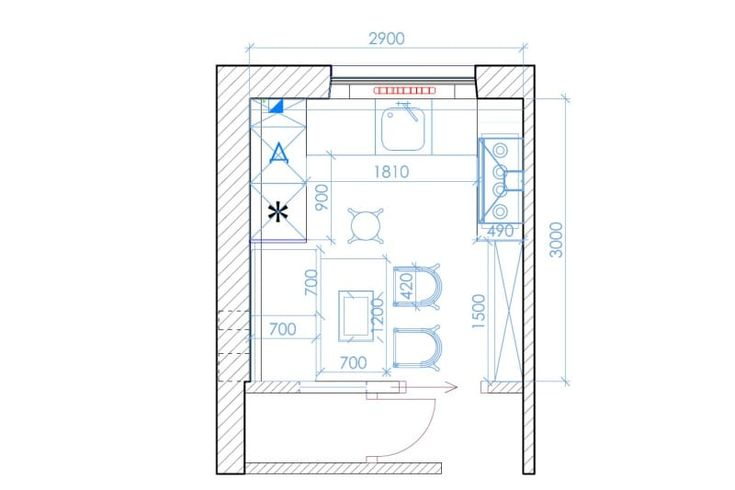 Квадратная кухня 9 кв. метров