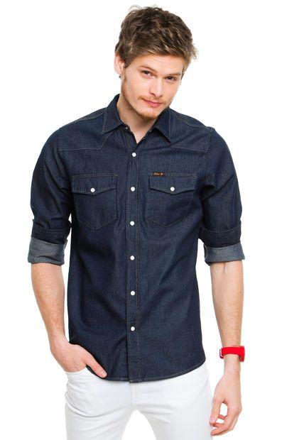 Me encanta! Miralo! Camisa Azul Felix Denim  de Felix en Dafiti