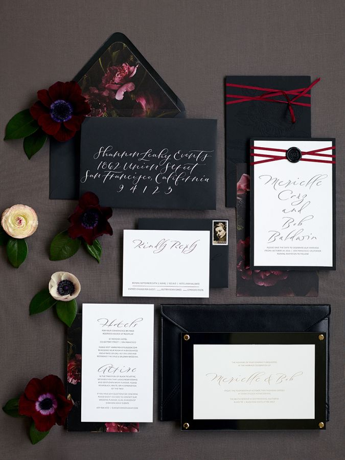 tie ribbon wedding invitation%0A The Bride Wore a Black Velvet Dress for Her Impossibly Glam Wedding  Ribbon  WeddingBlack Tie