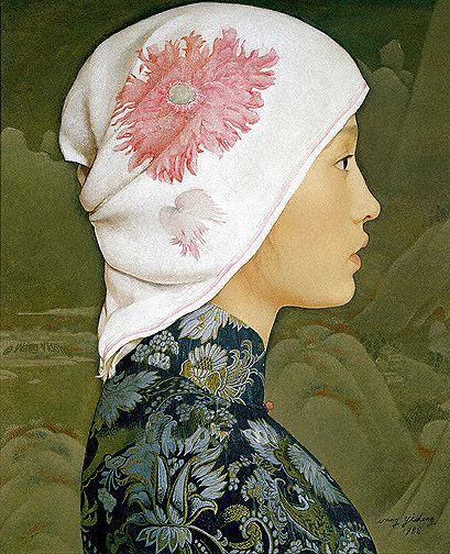 south china woman, wang yidong:  I love how the style is so reminiscent of 1500's Flemish portraiture.
