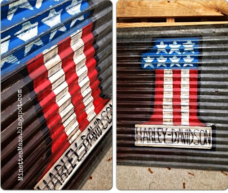 Repurposed Rustic Tin now a mancave wall decor. Patriotic