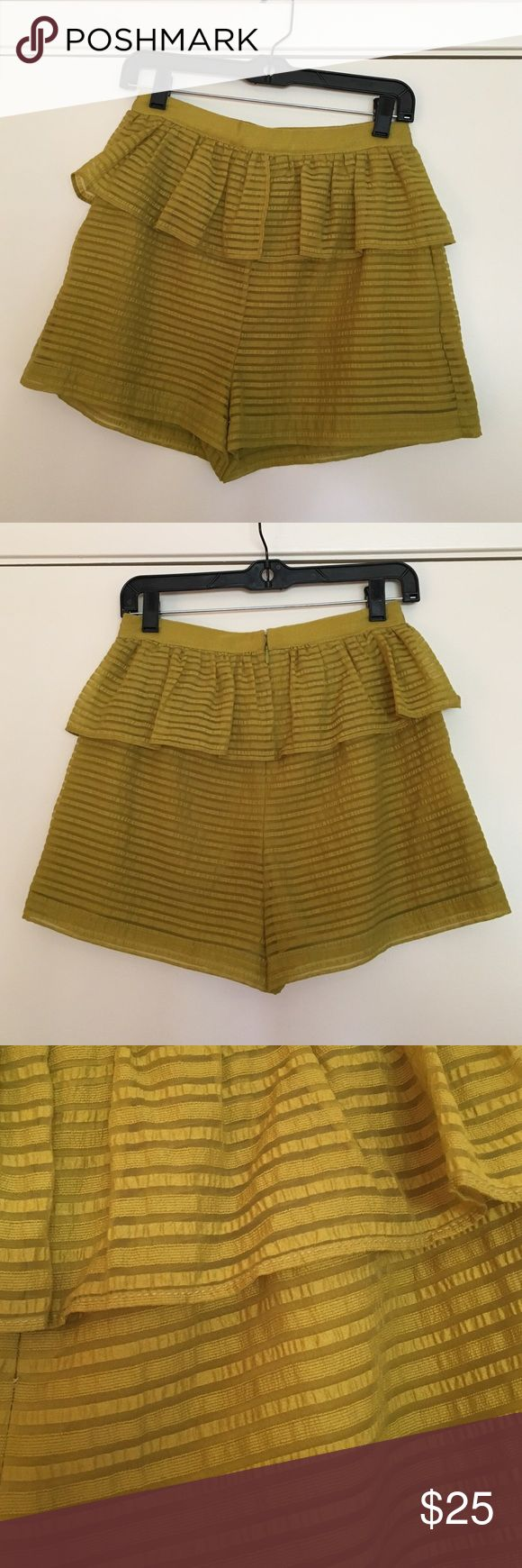 BCBGeneration Chartreuse Shorts These shorts are adorable on. The top layer flares a bit and it almost looks like a skirt. It's great for tucking in a top and the length isn't too short. I have never worn these because I outgrew them. BCBGeneration Shorts