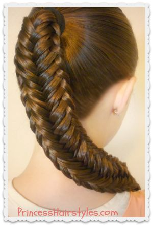 "Pretty variation of a fishtail braid, the ""twisted edge fishtail."""