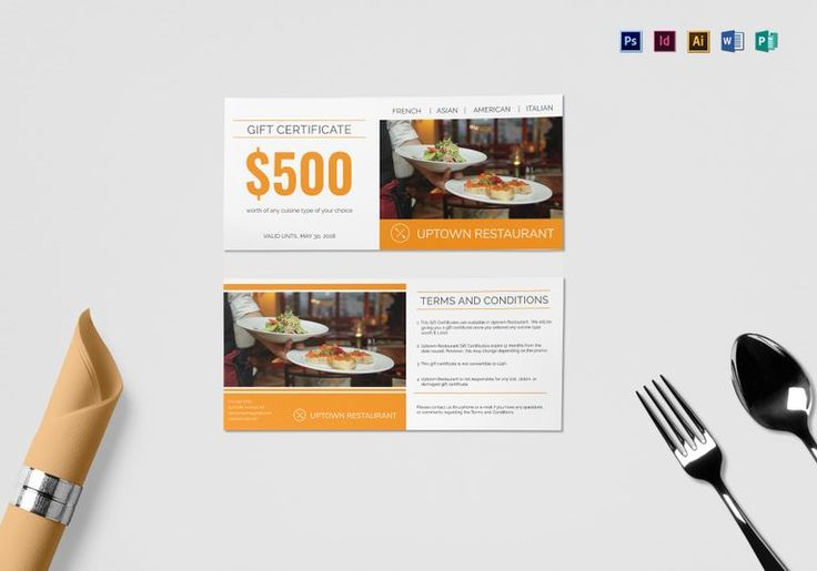 Restaurant Gift Certificate Template  $15  Formats Included : InDesign, Illustrator, MS Word, Photoshop, Publisher  File Size : 9x4 Inchs #Certificates #Certificatedesigns #Giftcertificates