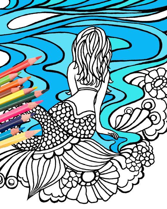 Mermaid Coloring Page Digital Download Beach Art By MellowMermaid