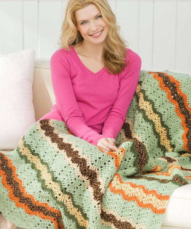 Ripple Throwback Afghan by Marianne Forrestal - Free Crochet Pattern - (redheart)