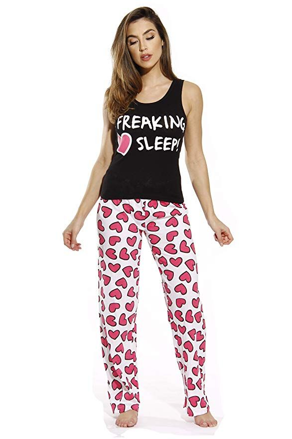 Just Love 100/% Cotton Women Pajama Ribbed Tank /& Jersey Pant Sets