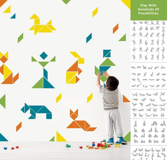 Tangram Origami Wall Decal for Kid's From by MyviniloWallDecal