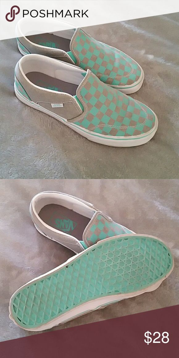 Slip on Vans Tennis Shoes Mint green and grey checker Vans/ only worn once, just don't match my wardrobe Vans Shoes