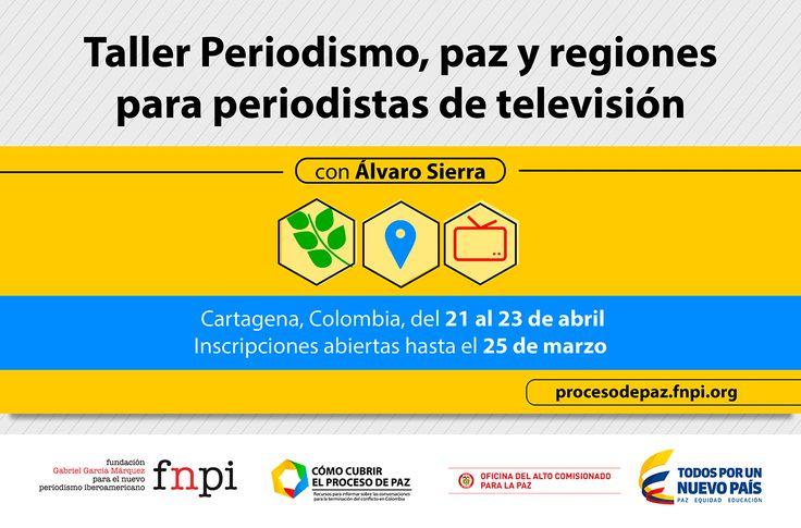Convocatoria abierta para periodistas colombianos, aquí toda la información para postularte: http://www.fnpi.org/actividades/2015/periodismo-paz-y-regiones-para-periodistas-de-television/