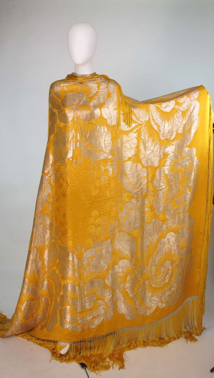 1920s shimmering silver lame and saffron yellow silk shawl | From a collection of rare vintage scarves at http://www.1stdibs.com/fashion/accessories/scarves/