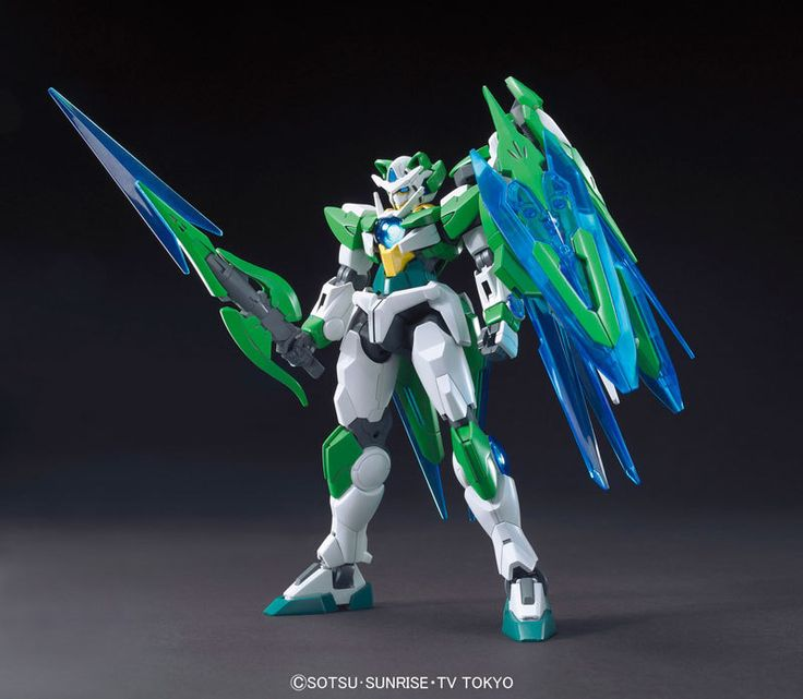 HGBF Gundam 00 Shia QAN[T] | Build Fighters | Green Blue Sci-Fi Military Mecha Scale Model