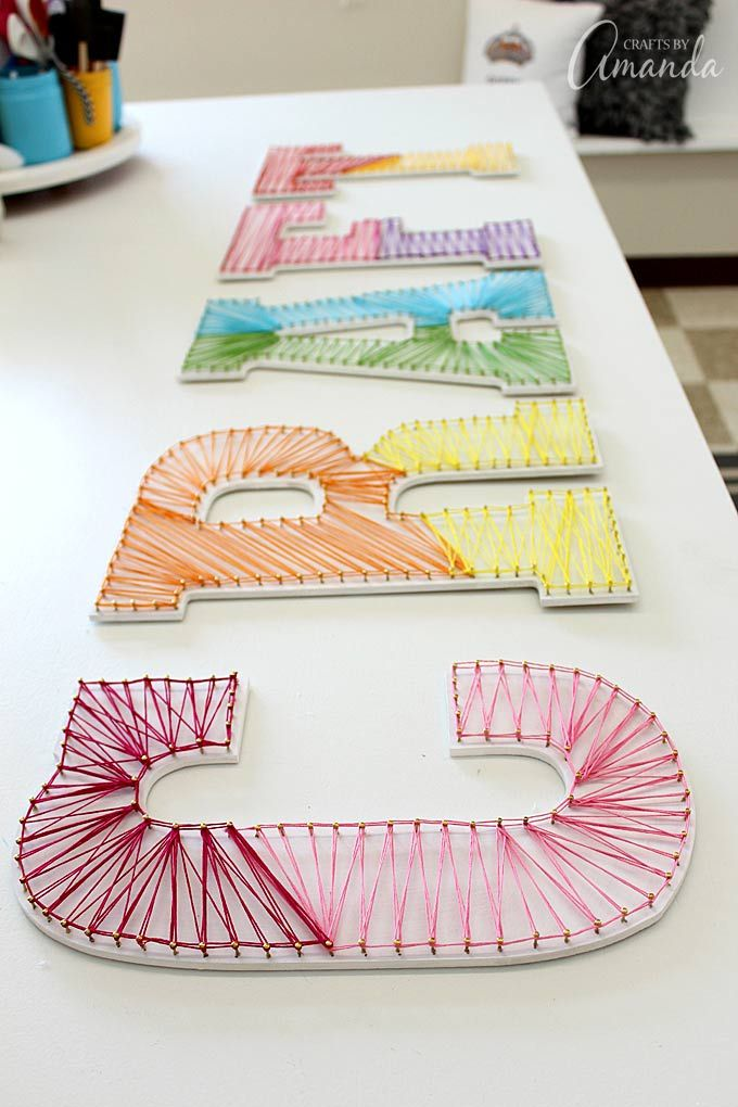 Colorful String Art Wall Letters. Fun idea for a kids room too!