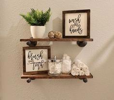 Wash Your Hands Brush Your Teeth Signs, Wall Decor, Shelf Decor, Wood Sign, Farm…   – bathroom decor