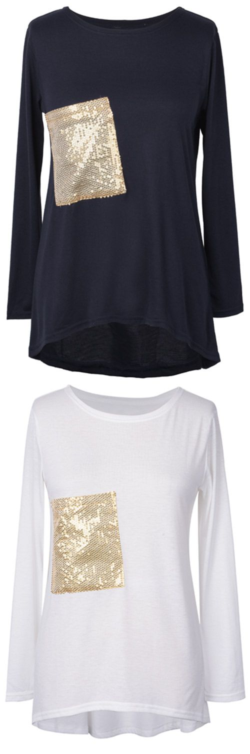 $17.99 Only with free shipping Now! The golden sequins is a highlight in common life. This sequin top comes in soft fabric&high low hem! Your best choice for a cozy Weekend at Cupshe.com !