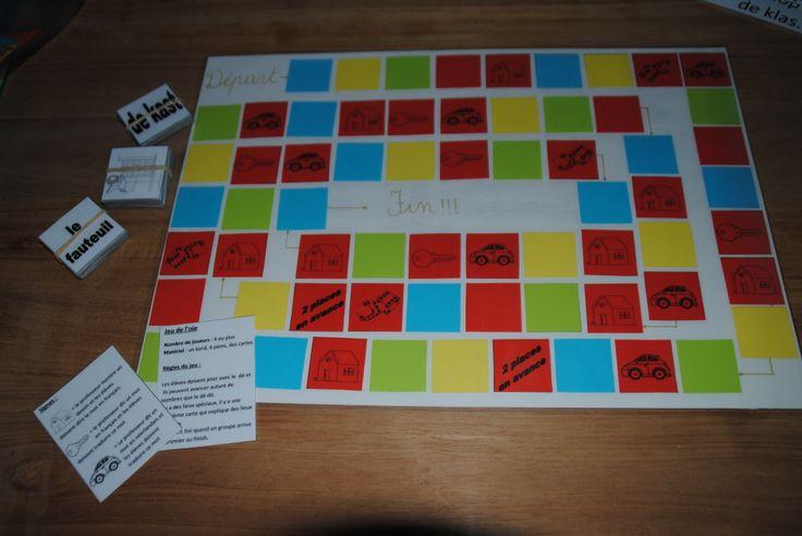 Een versie van ganzenbord, maar om de woorden Frans te leren. auto=Nederlands woord vertalen. Huisje=franse woord erbij zeggen. Sleutel =Franse woord vertalen naar het Nederlands. Het leuke is, dat je het kan toepassen op alle franse woordjes die gekend moeten zijn. Meer #leertips op http://www.pinterest.com/ekkomikndrcch/leren-leren/ of volg gewoon alle borden van ekkomi via http://www.pinterest.com/ekkomikndrcch/