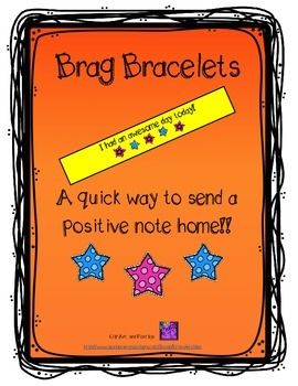 Printable bracelets with a positive note for parents. FREE on Teachers Pay Teachers