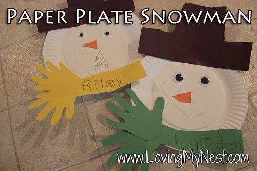 Paper Plate Handprint Snowman