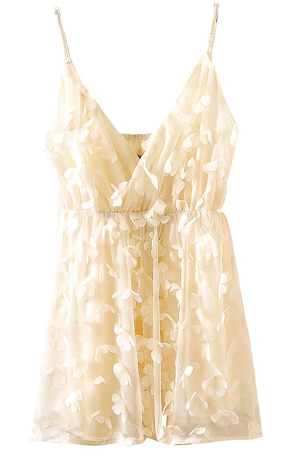 Beige V-neck Rosette Flowers Chiffon Straps Top - this would be adorable with a cute skirt and heels or shorts and sandals.