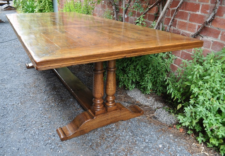 French Oak Parquetry Dining Table -Twin Column Pedestals