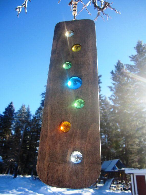 Suncatcher Spinner Wood Art, from Etsy... Chakras Suncatcher Rainbow ... https://www.etsy.com/uk/listing/62675877/chakras-suncatcher-meditation-tool?ref=market
