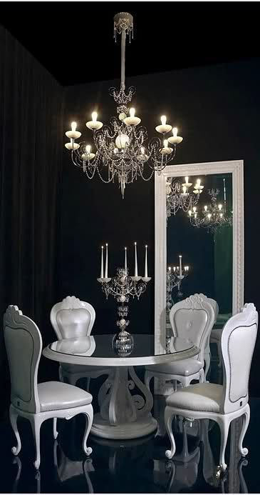 Black dining room  white accents and furniture  Such a cool dramatic effect. Best 25  Black dining rooms ideas on Pinterest   Black dining room