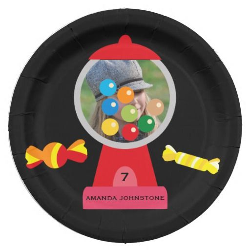 Girls Rainbow Candy Party Personalized 9 Inch Paper Plate