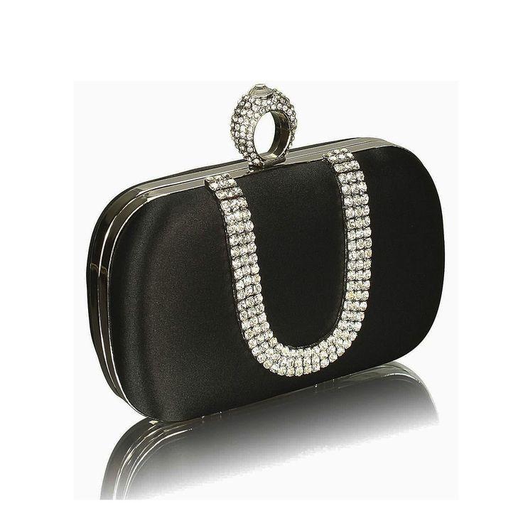 Poșetă de seară clutch cu inel, din satin negru cu cristale abe