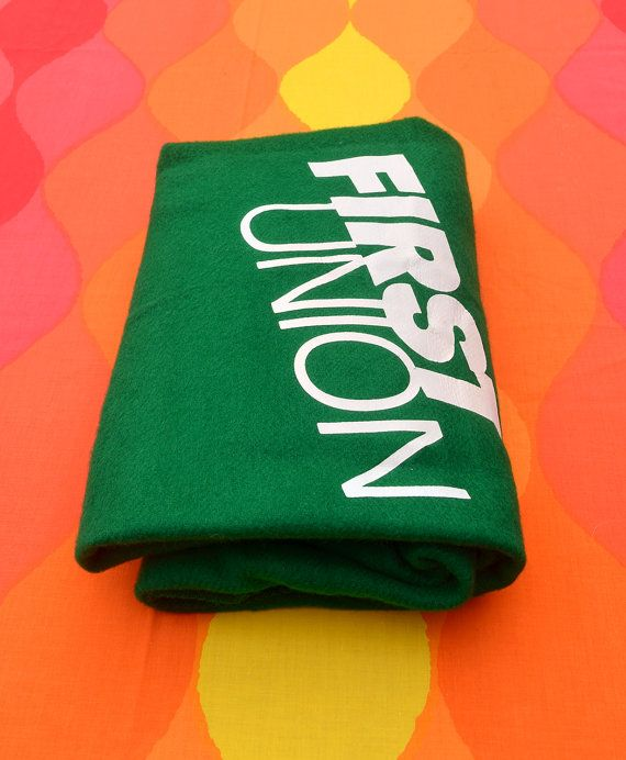 1980s blanket throw FIRST UNION bank defunct funny money green faribo soft acrylic