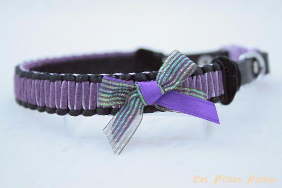 Collier pour chien tressé Le Classique noir et violet