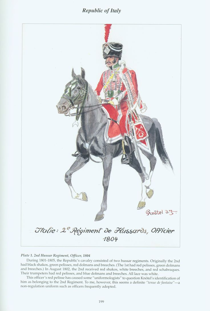 Republic of Italy: Plate 1: 2nd Hussar Regiment, Officer, 1804.