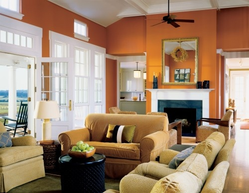 Love this Colour!: Color Design, Warm Color, Burnt Orange, Wall Color, Paintings Color, Orange Wall, Farmhouse Living Rooms, Accent Wall, Rooms Kids