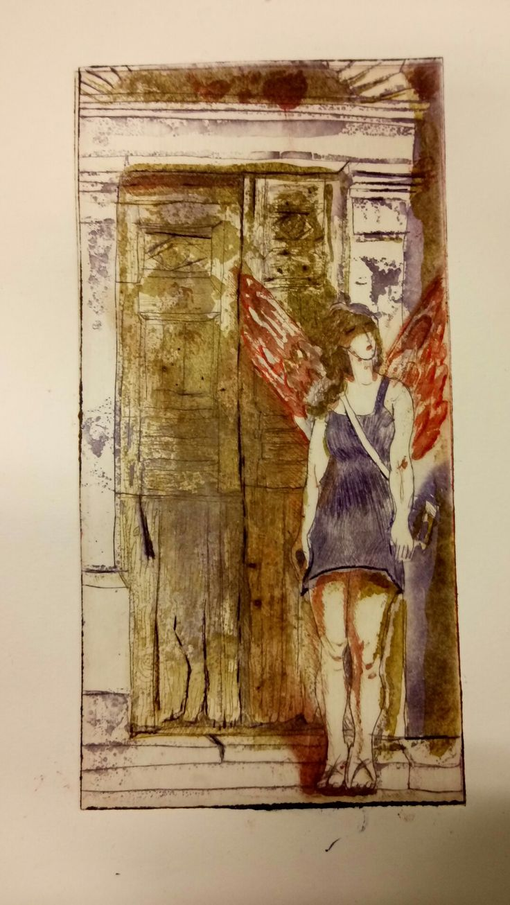 """Angel passing by"",dry point, spit bite, three plates"