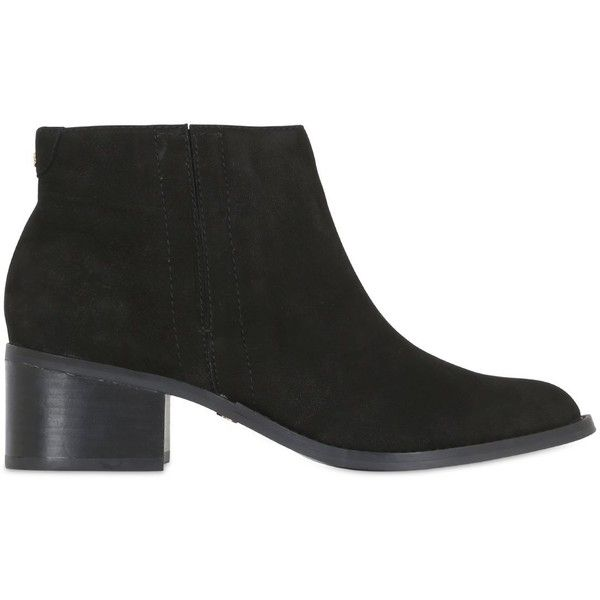 KG BY KURT GEIGER 50mm Nubuck Leather Ankle Boots (2 260 SEK) ❤ liked on Polyvore featuring shoes, boots, ankle booties, black, black boots, black booties, mid heel booties, black shootie and black ankle bootie