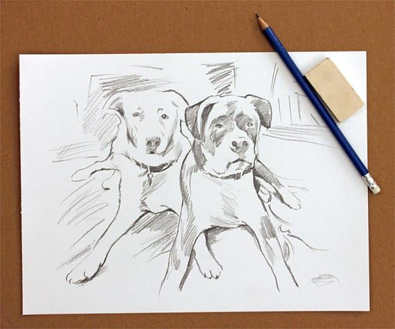 Dog Portrait Pencil Drawing Personalized Dog Lover Gifts Sketch on Artists Grade Paper FREE SHIPPING