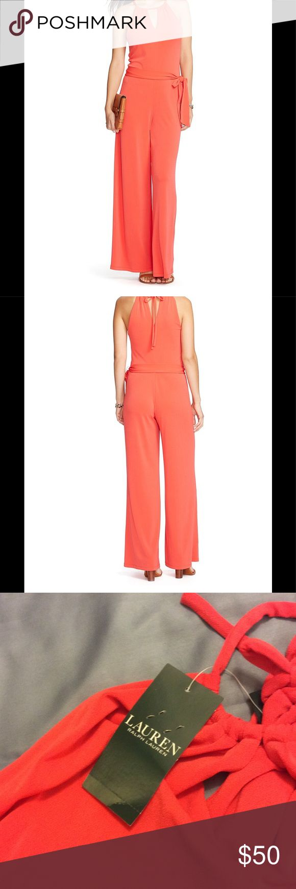 NWT Lauren by Ralph Lauren coral jumpsuit xl I had to have this jumpsuit. Unfortunately I did not try it on and it did not work for me. This is new with tags. It is a size extra large. It is wide leg. It is a coral color. Inseam is 32 inches. It does have one sign of pilling on the inside leg.  This has a tie waist and a lot of stretch. Lauren Ralph Lauren Other
