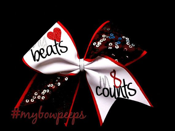 Cheer Bow My Heart Beats in 8 Counts Red Black White by MyBowPeeps