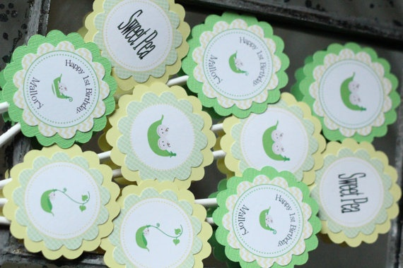 Sweet Pea Birthday Cupcake Toppers: Birthday Parties, Peas Birthday, Birthday Cupcakes, 1St Birthday, Sweet Peas, Birthday Ideas
